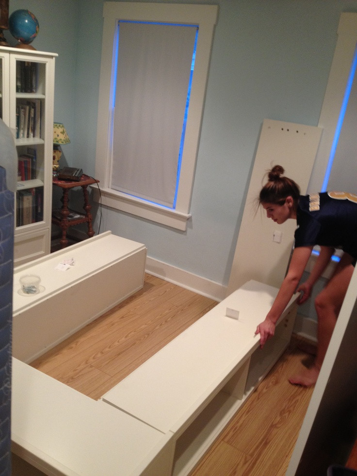 DIY Wooden Bed Frame With Storage  98 best Bedroom DIY Storage Bed & Headboard images on