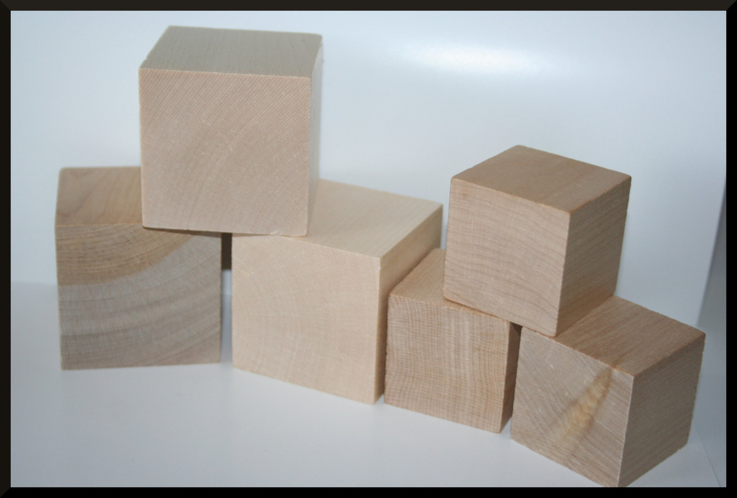DIY Wooden Blocks  50 Wooden Blocks DIY Wood Blocks Wood Cubes Square