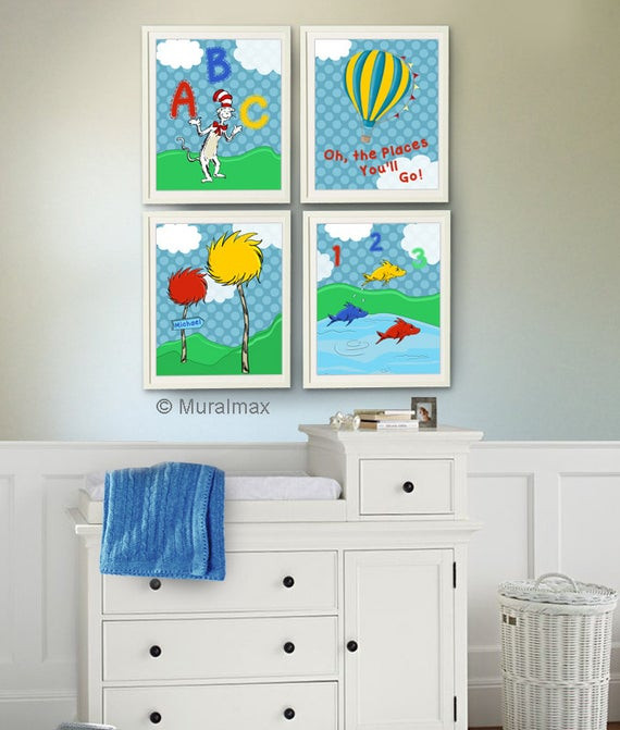 Dr Seuss Baby Room Decor  Dr Seuss nursery decor Cat in the Hat e Fish Two by MuralMAX