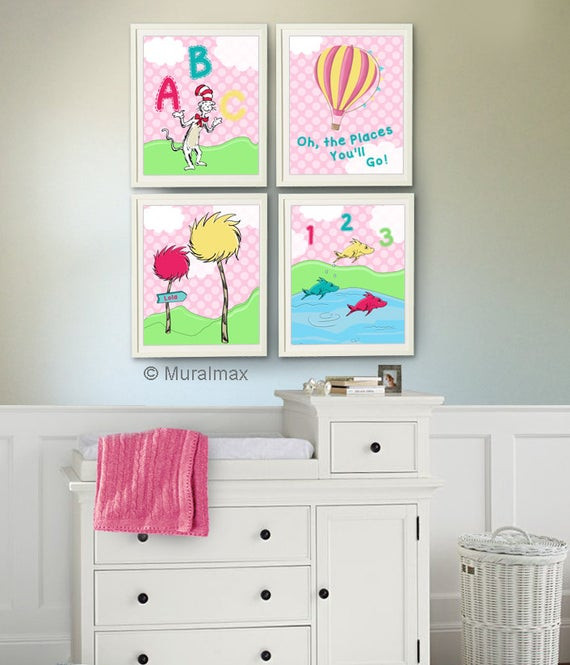 Dr Seuss Baby Room Decor  Dr Seuss Girl Nursery Decor Cat in the Hat e Fish by