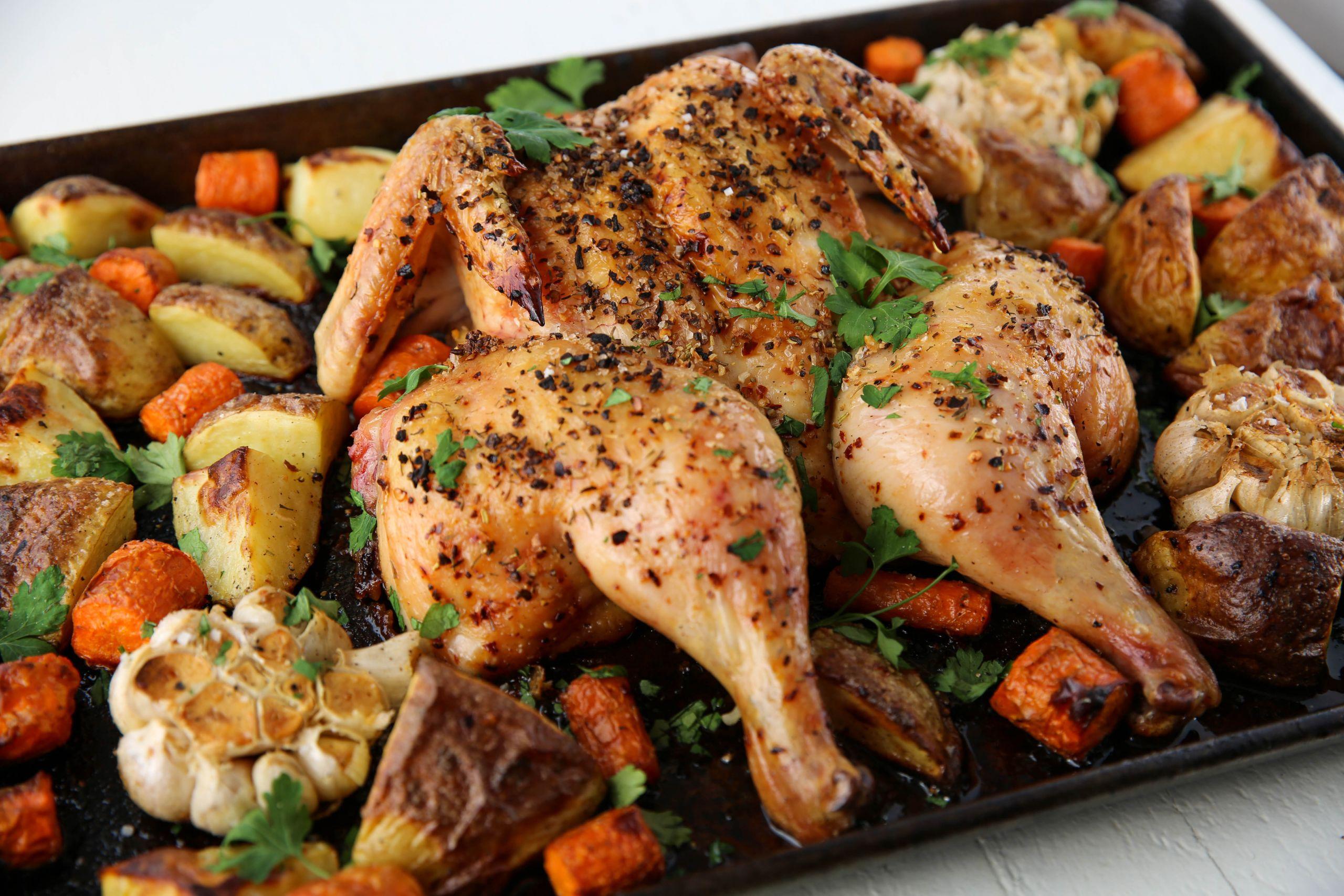 Easy Chicken Dinners  Easy Sheet Pan Spatchcock Chicken Dinner PaleOMG