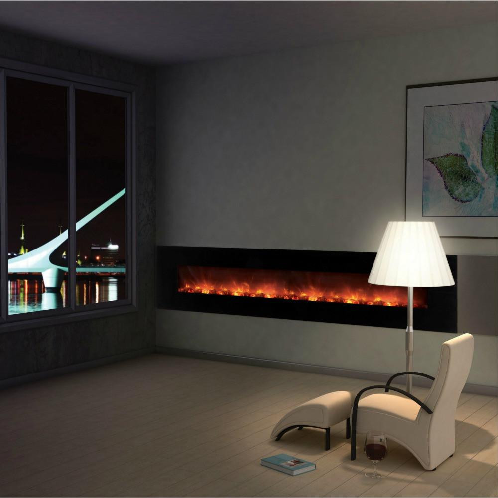 """Electric Fireplace Modern Wall Mount  Buy line Modern Flames 100"""" Ambiance Wall Mounted"""