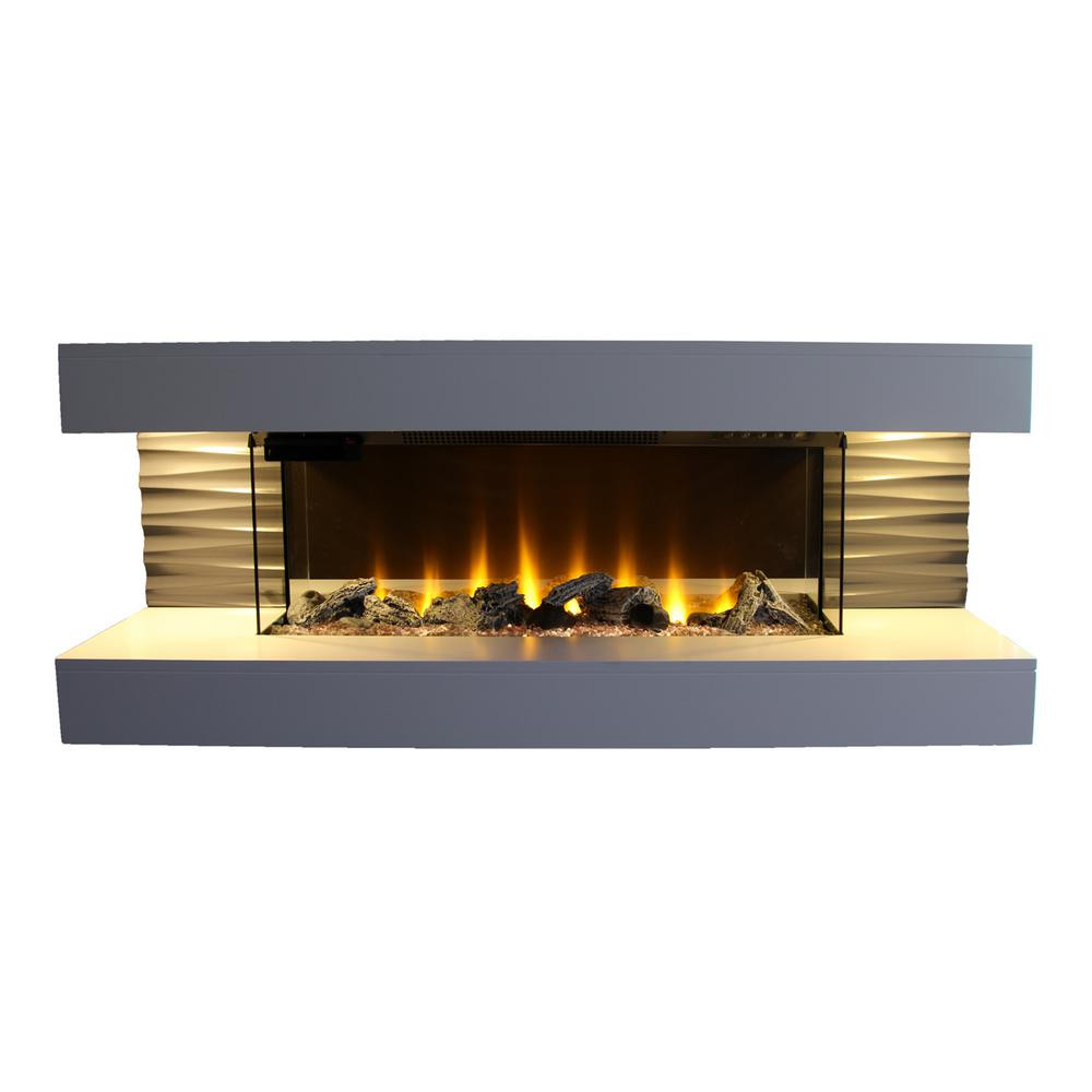 Electric Fireplace Modern Wall Mount  Lifesmart Contemporary Series 44 in Wall Mounted Infrared