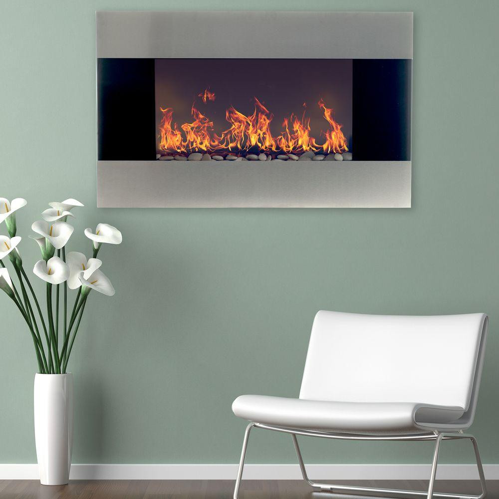 Electric Fireplace Modern Wall Mount  Northwest 35 in Stainless Steel Electric Fireplace with