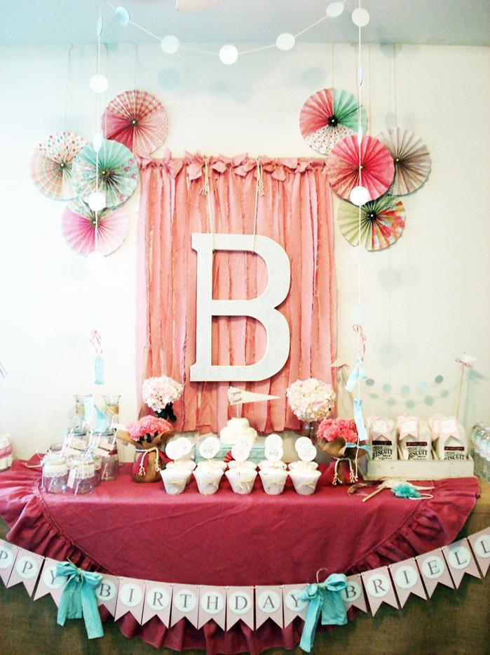 First Birthday Decor  Kara s Party Ideas Vintage Chic 1st Girl Boy Birthday