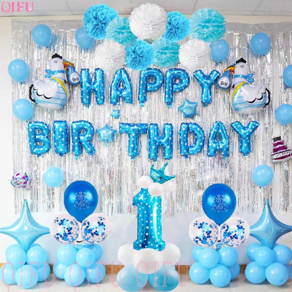 First Birthday Decor  QIFU 1 Birthday Boy 1st Birthday Party Decorations Kids My