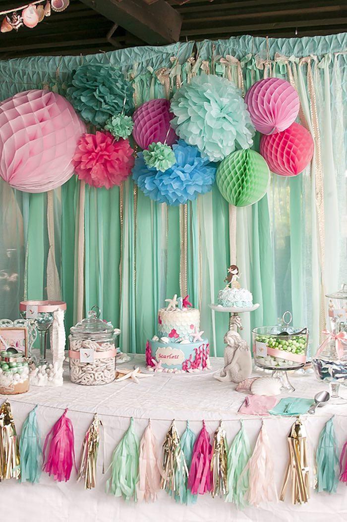 First Birthday Decor  Kara s Party Ideas Littlest Mermaid 1st Birthday Party