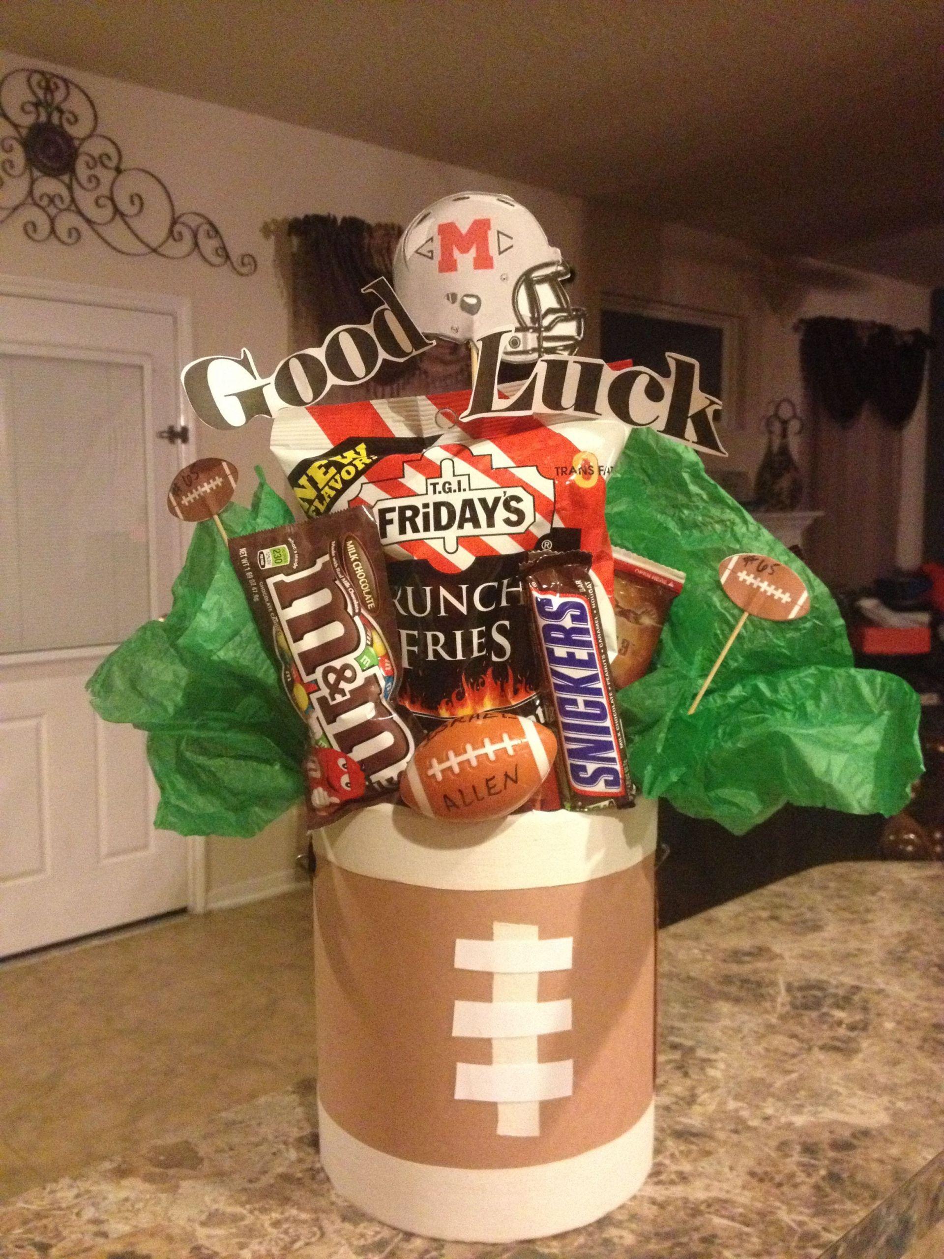Football Gift Ideas For Boys  Varsity football player t idea I made this basket