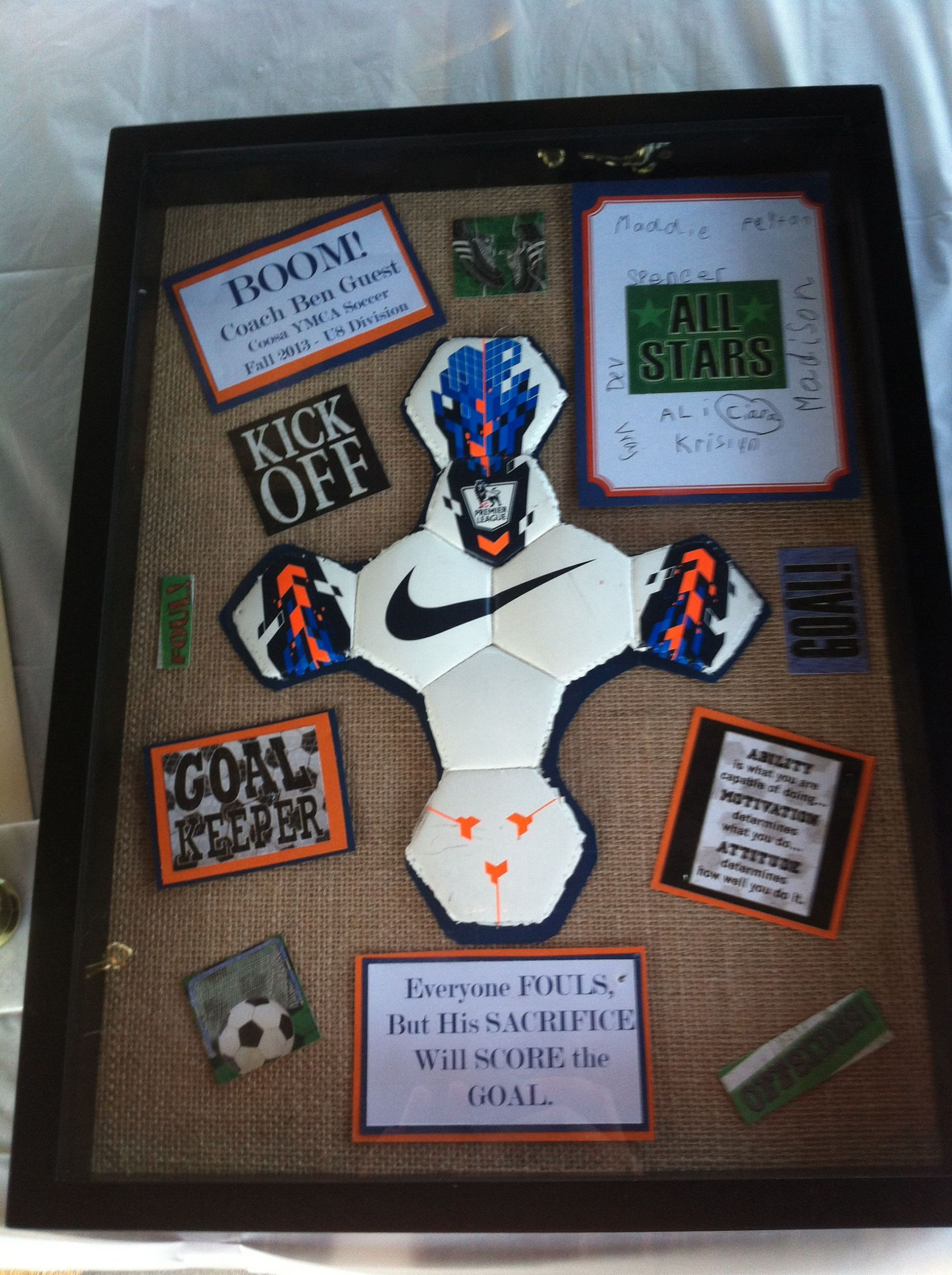 Football Gift Ideas For Boys  Soccer Coach t I also did this in Auburn colors since