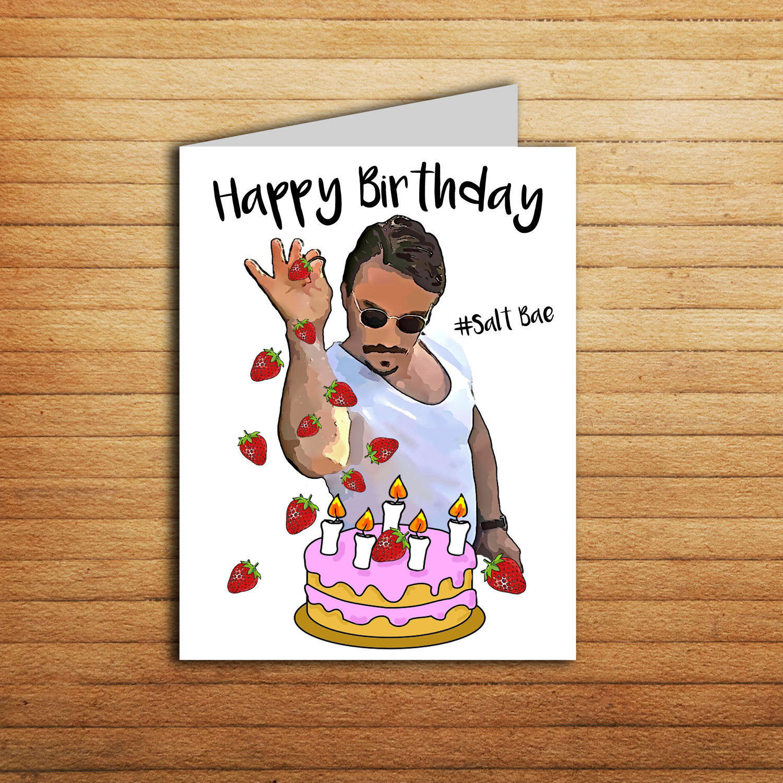 Free Printable Birthday Cards Funny  Salt Bae Birthday Card Printable Funny Birthday Card for