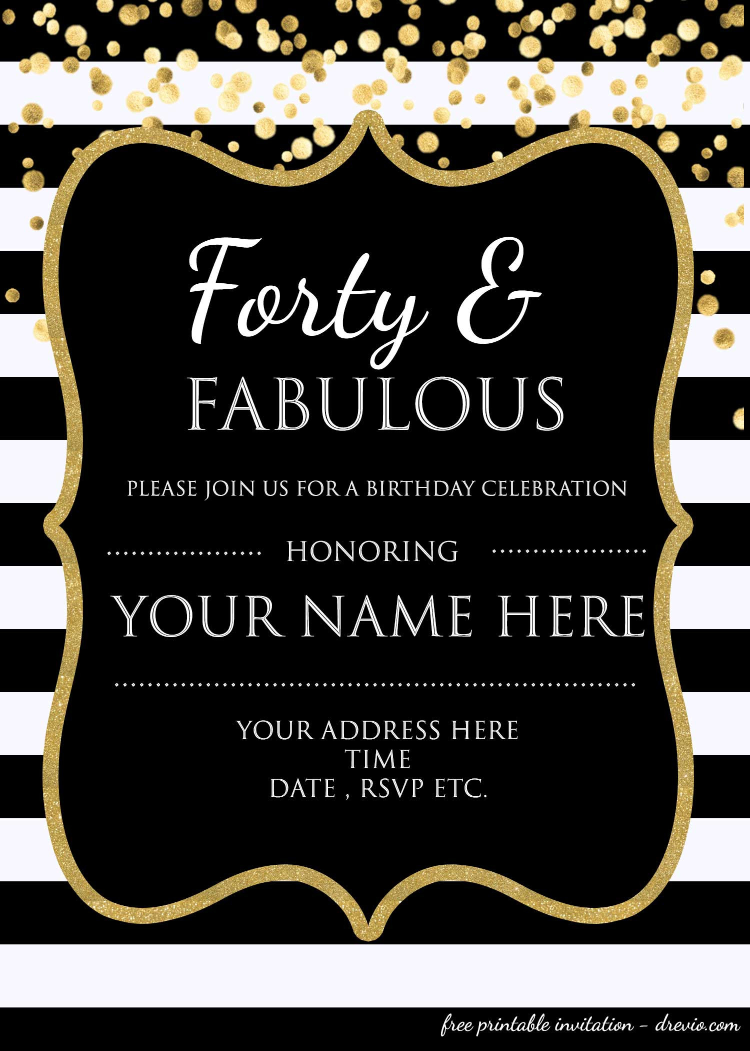 Free Templates For Birthday Invitations  40th Birthday Invitation Template – FREE – FREE Printable
