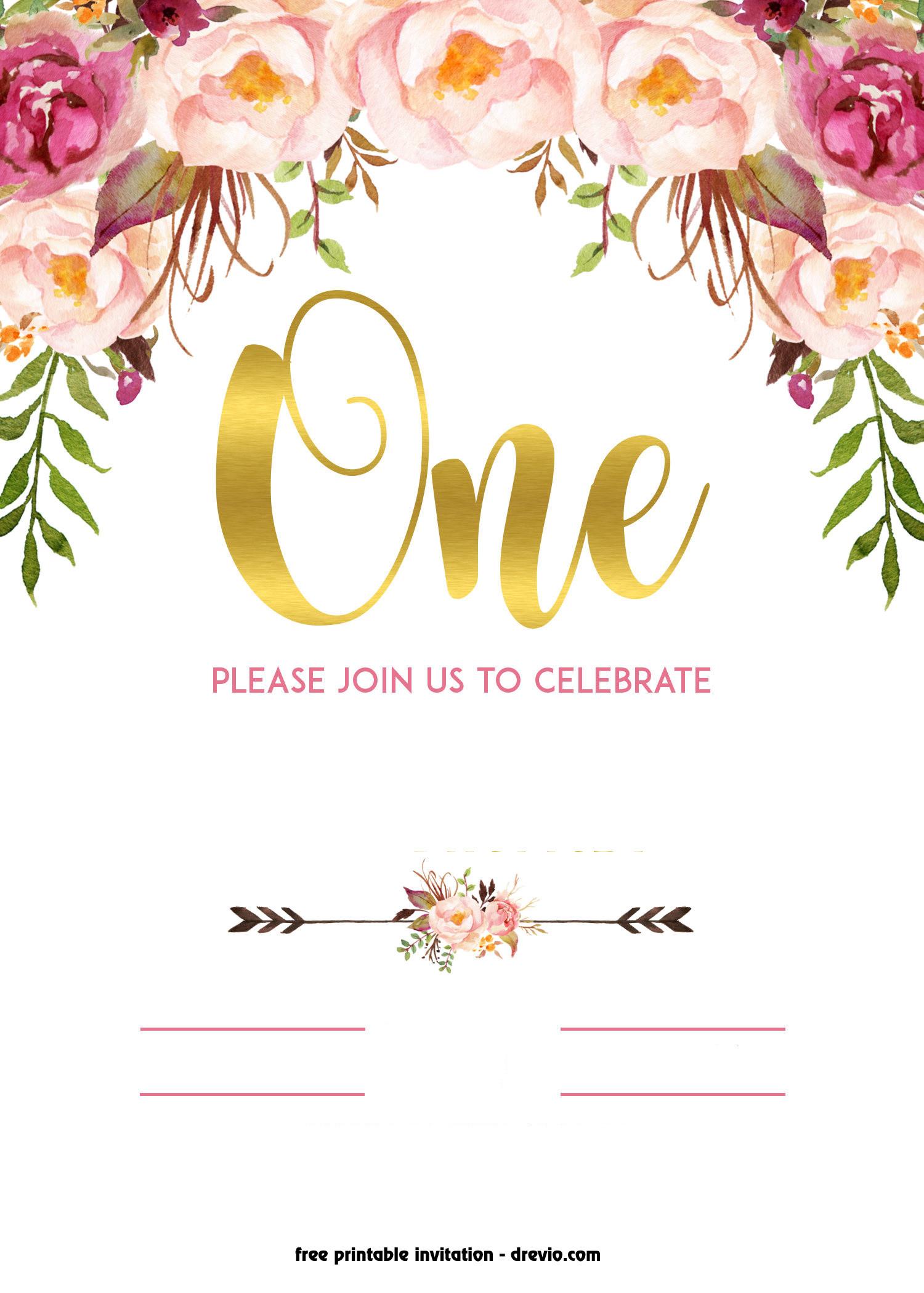 Free Templates For Birthday Invitations  FREE Printable 1st Birthday Invitation – Vintage Style