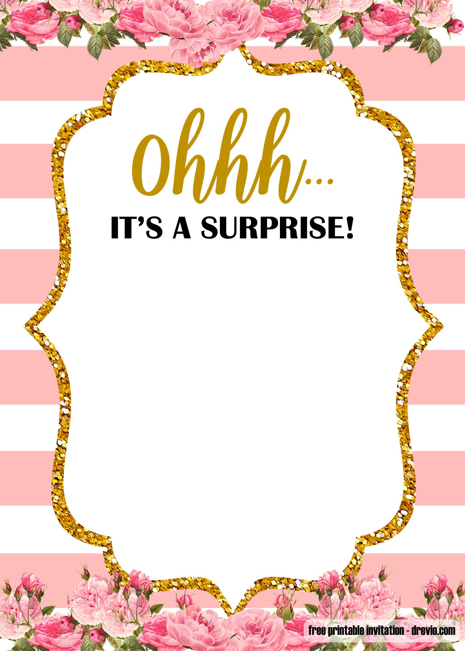 Free Templates For Birthday Invitations  FREE Printable Surprise party Birthday Invitation
