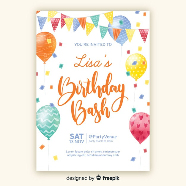Free Templates For Birthday Invitations  Watercolor style birthday invitation template