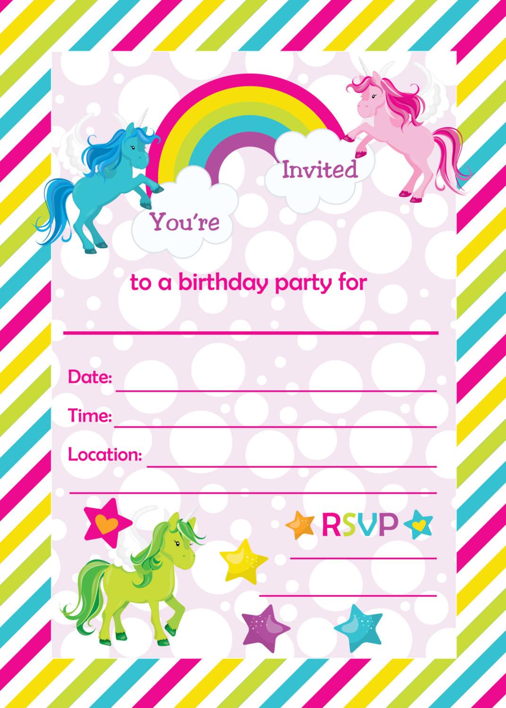 Free Templates For Birthday Invitations  FREE Rainbow Birthday Invitations – FREE Printable