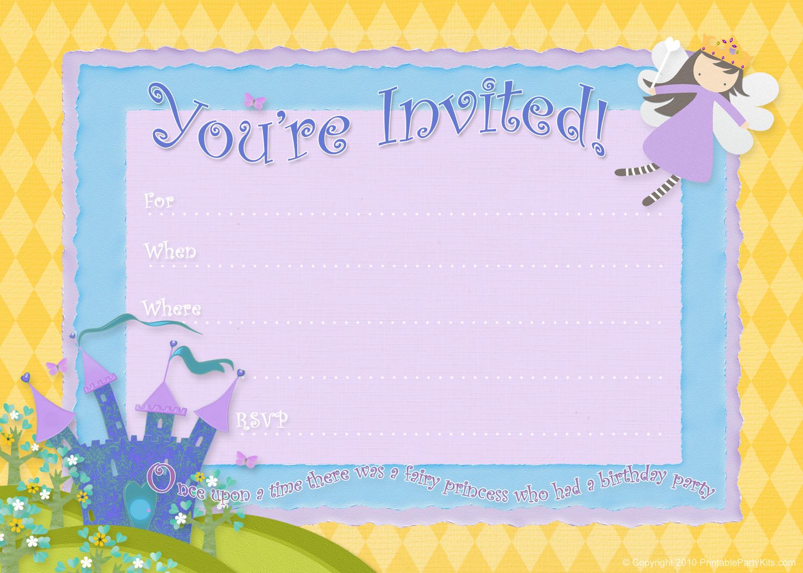 Free Templates For Birthday Invitations  Free Birthday Party Invitations – Bagvania FREE Printable