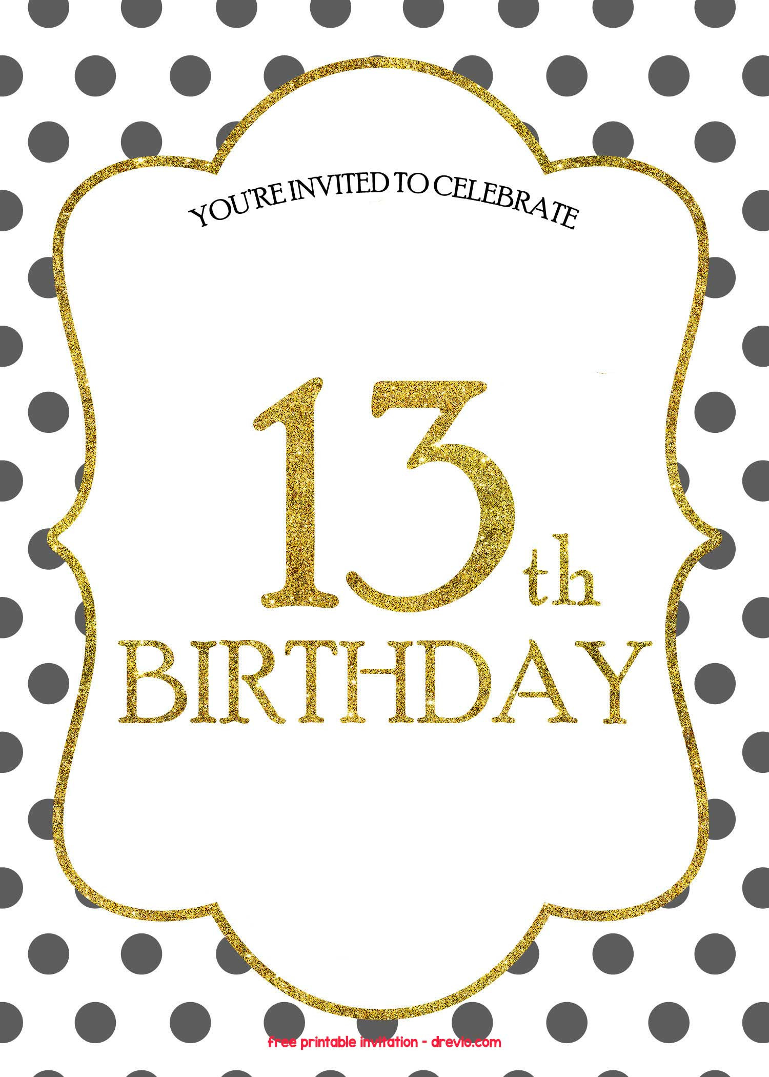 Free Templates For Birthday Invitations  FREE 13th Birthday Invitations Templates