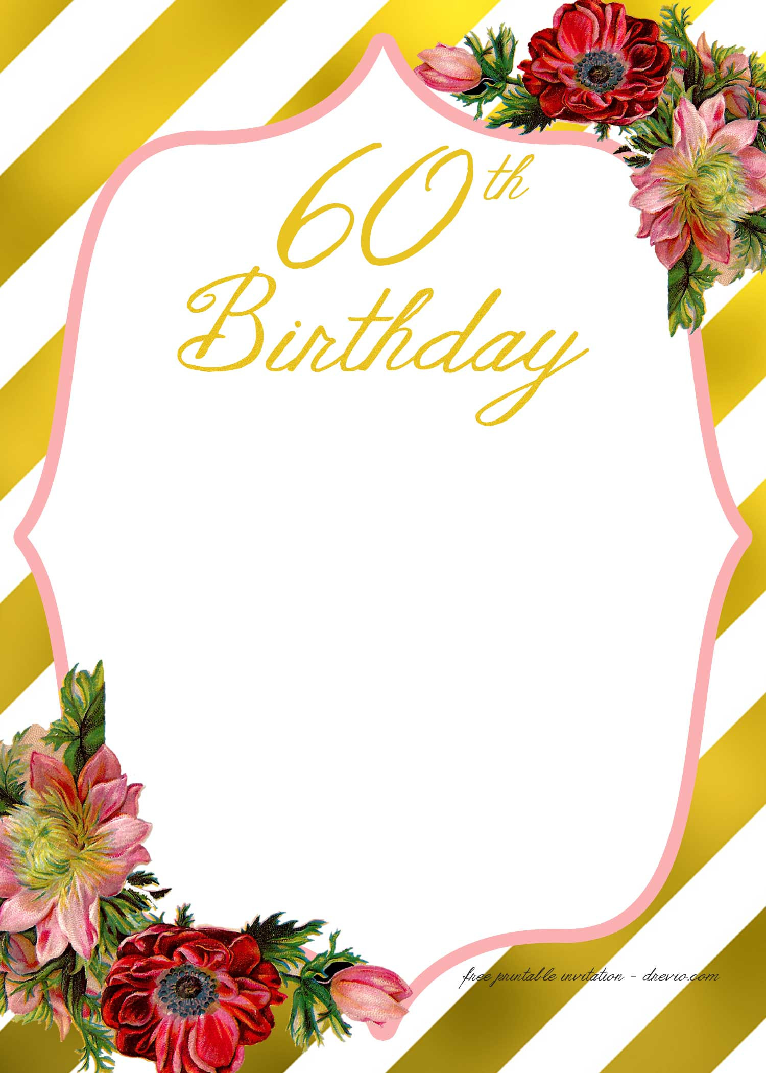 Free Templates For Birthday Invitations  Adult Birthday Invitations Template for 50th years old
