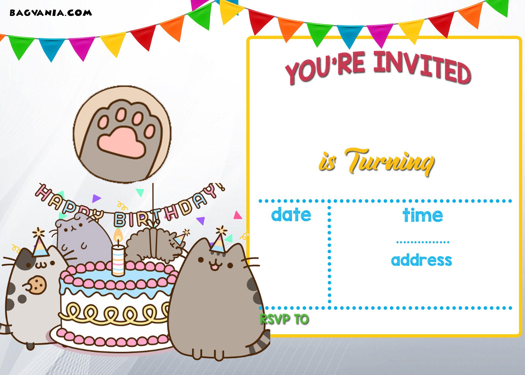 Free Templates For Birthday Invitations  FREE Printable Pusheen Birthday Invitation Template
