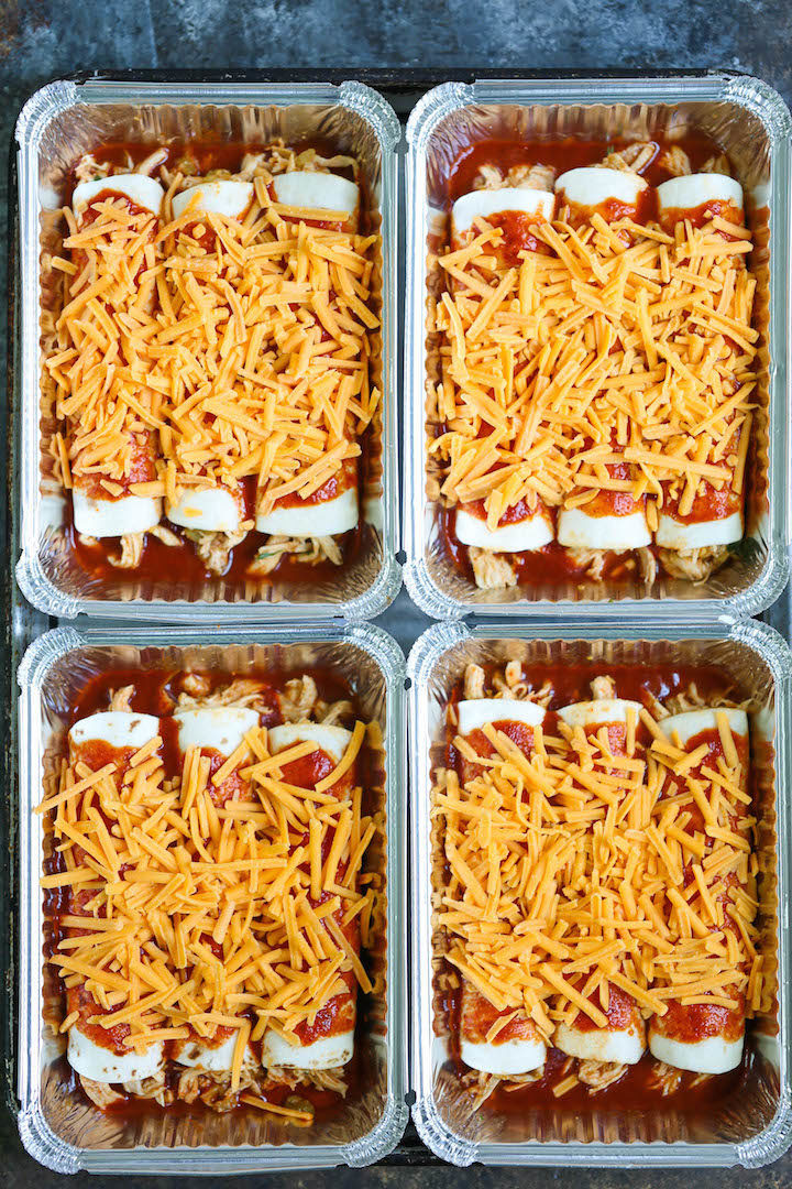 Freezer Chicken Enchiladas  Freezer Chicken Enchiladas Damn Delicious
