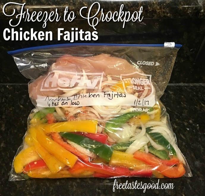 Freezer Chicken Fajitas  Freezer to Crockpot Chicken Fajitas