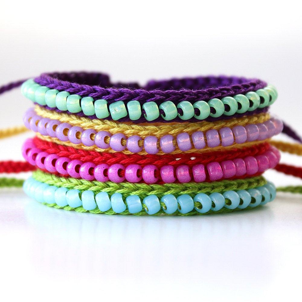 Friendship Bracelets With Beads  Items similar to Custom Listing Crocheted Beaded