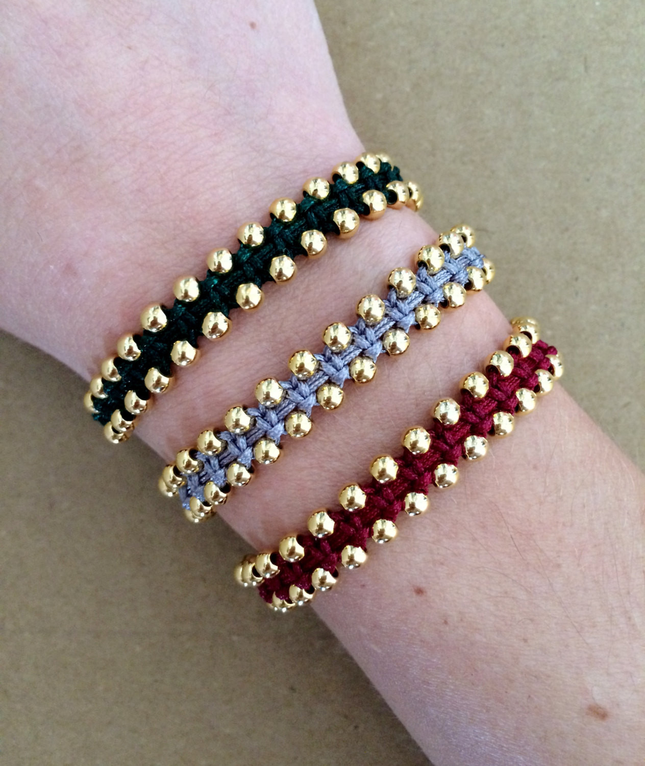 Friendship Bracelets With Beads  Gold Plated Beads Macrame Bracelet Friendship Bracelet