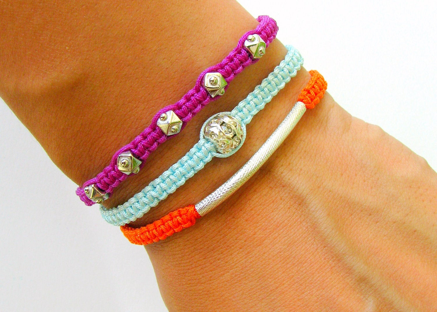 Friendship Bracelets With Beads  Stacking Friendship Bracelets Silver Beads and Silver Tube