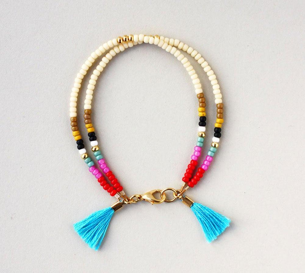 Friendship Bracelets With Beads  Friendship Bracelet Beaded Bracelet Layering by feltlikepaper