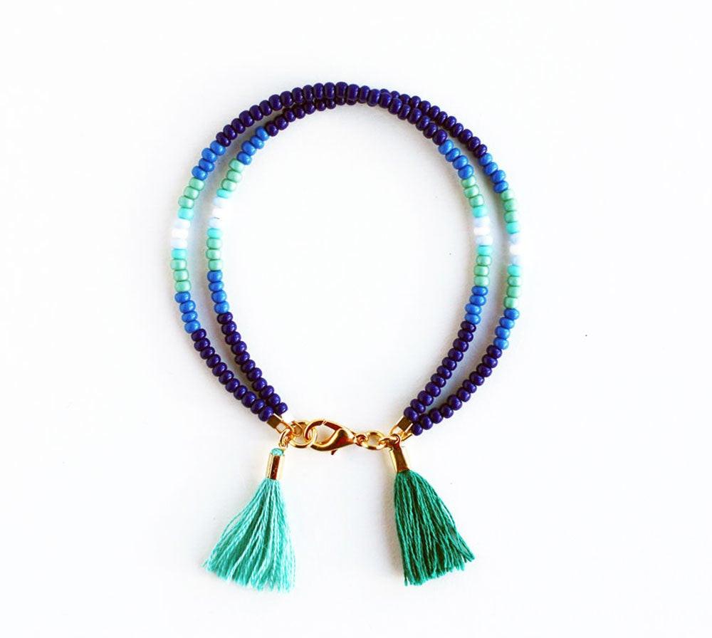 Friendship Bracelets With Beads  Friendship Bracelet Beaded Bracelet Double Tassel Beaded
