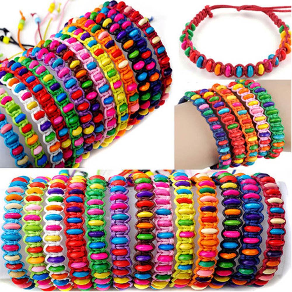 Friendship Bracelets With Beads  10pcs Wholesale Lot Beads Braid Handmade Fashion