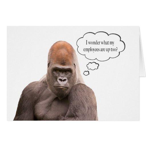 Funny Boss Birthday Cards  Funny Gorilla Happy Birthday Boss Card Greeting Card