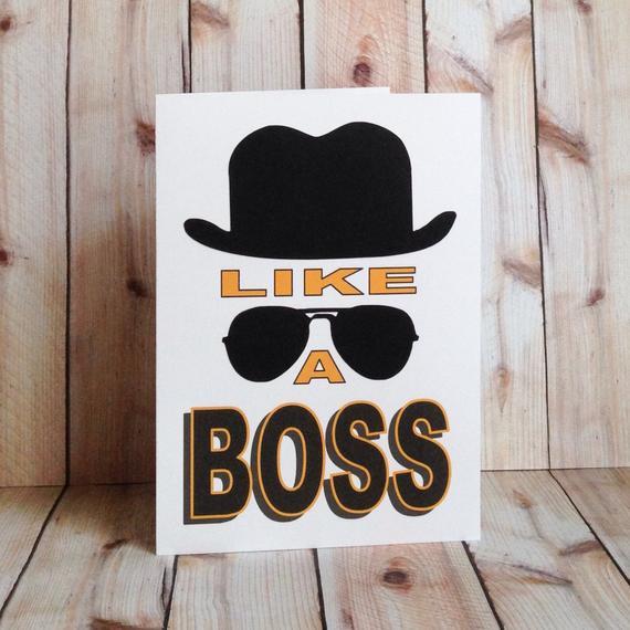 Funny Boss Birthday Cards  Items similar to Like A Boss Funny Birthday Card Gangster