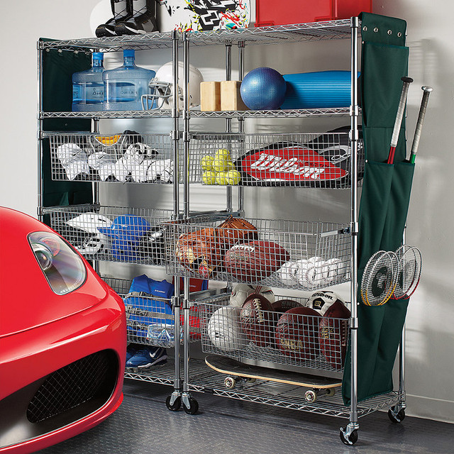 Garage Sports Organizer  Metallic finished Sports Shelving with Pull out Bins