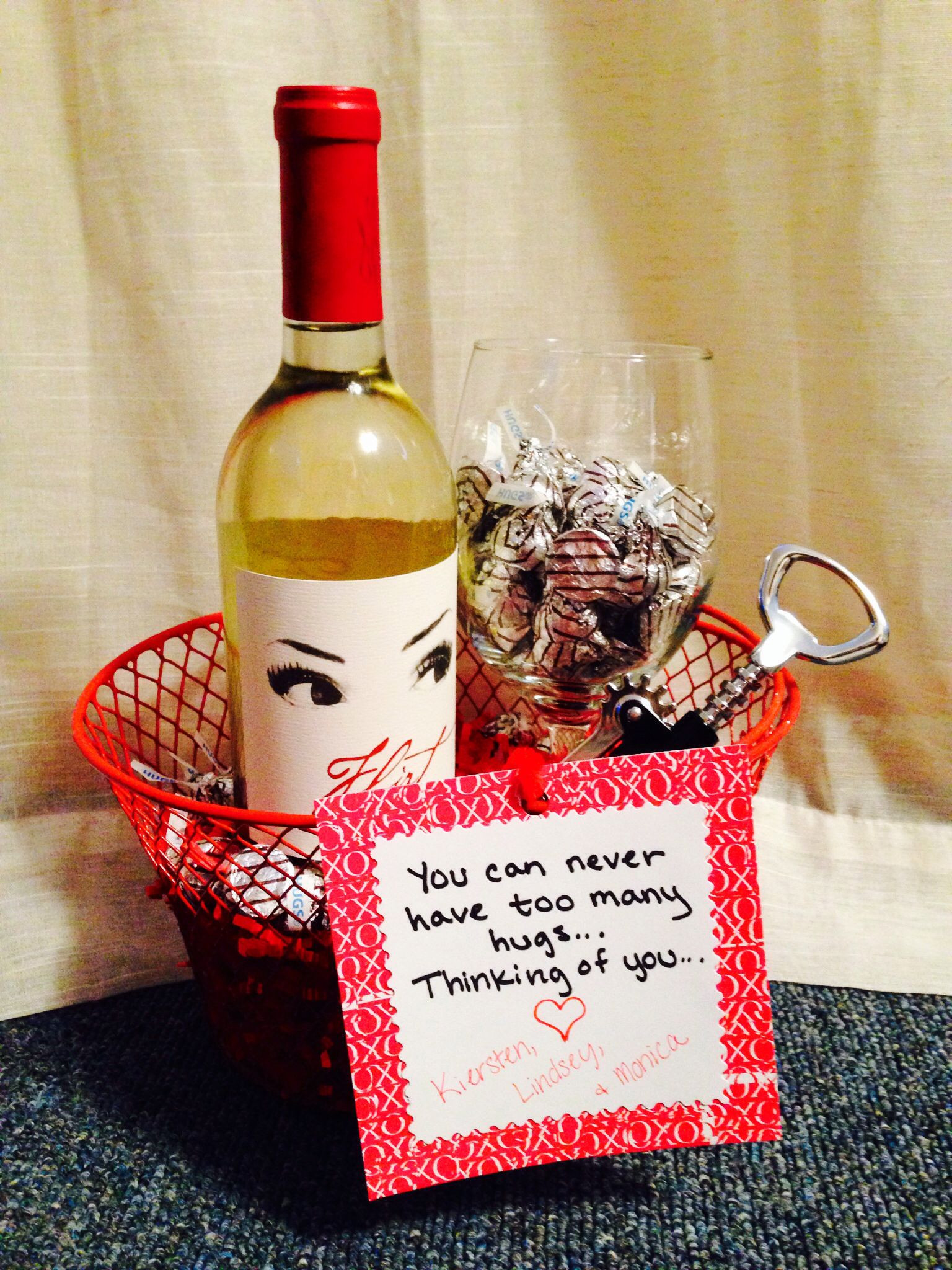 Gift Basket Ideas For Death In Family  Sympathy t for a friend Wine Wine Glass Corkscrew