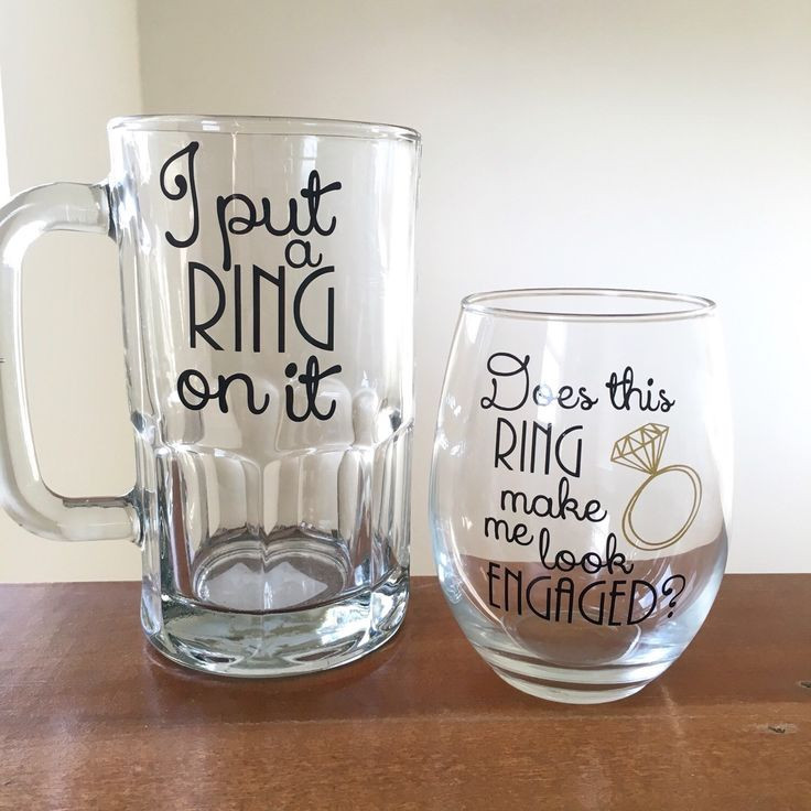 Gift Ideas For Engaged Couples  Couples engagement t I put a ring on it beer mug does