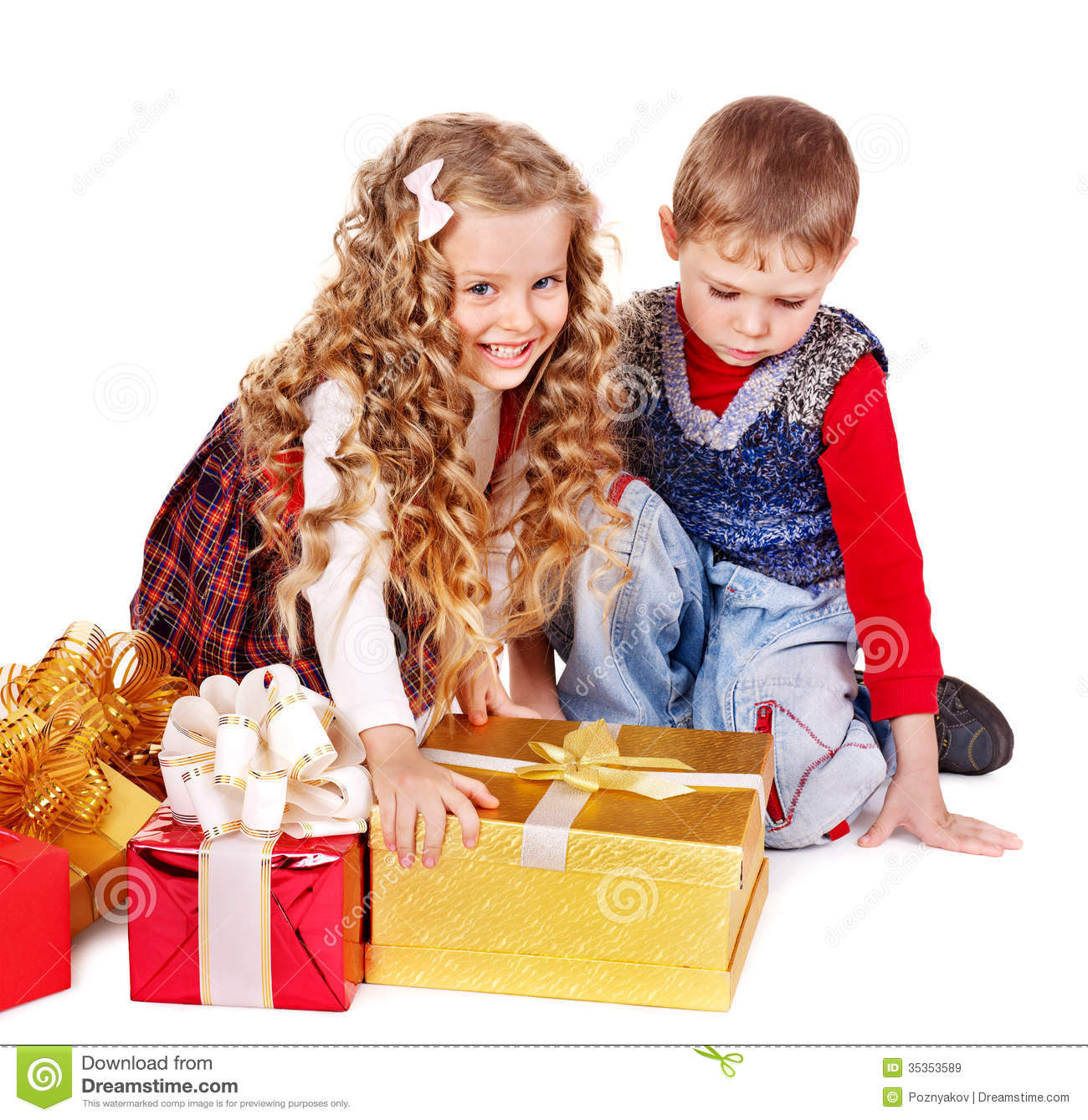 Gifts For Gifted Children  Kids With Christmas Gift Box Stock Image Image of
