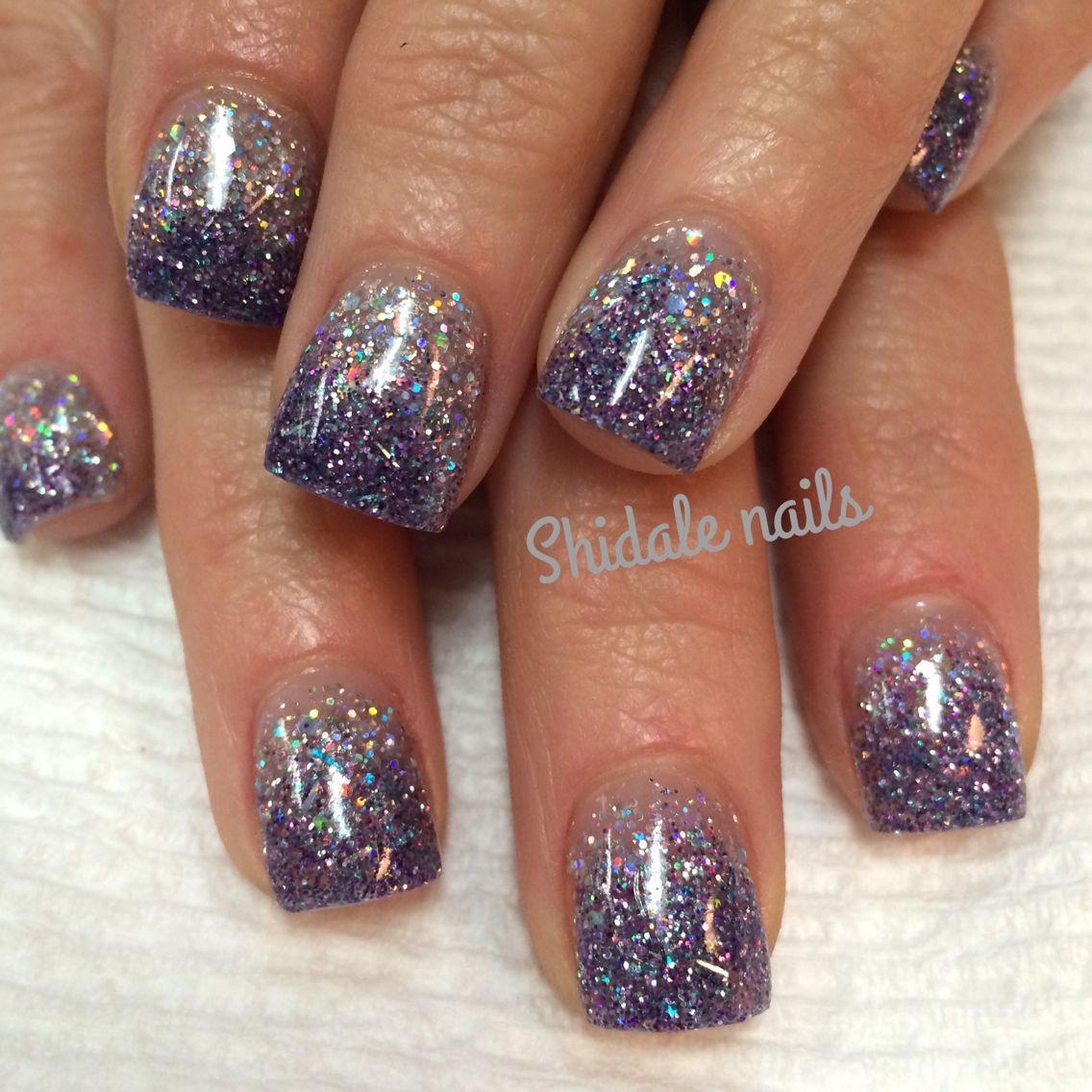 Glitter Nail Designs For Short Nails  Short square acrylics Glitter ombre nails Shidale nails