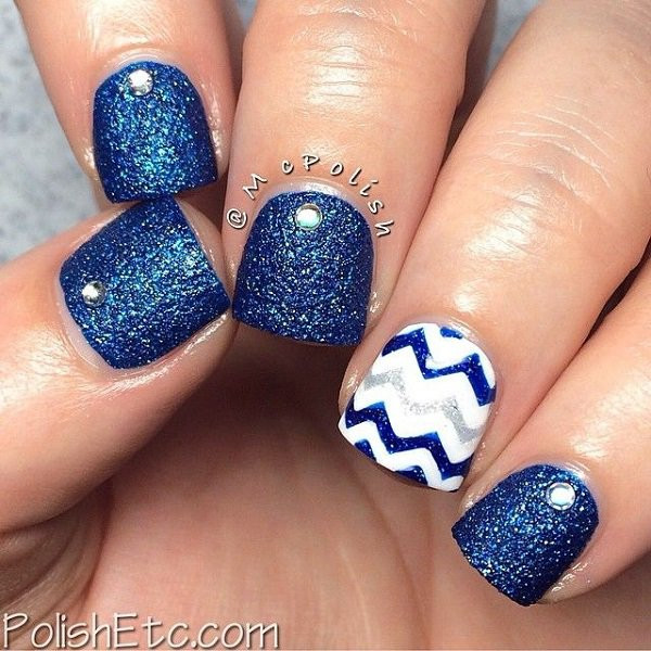 Glitter Nail Designs For Short Nails  29 Adorable Blue Nail Designs for 2018 Pretty Designs