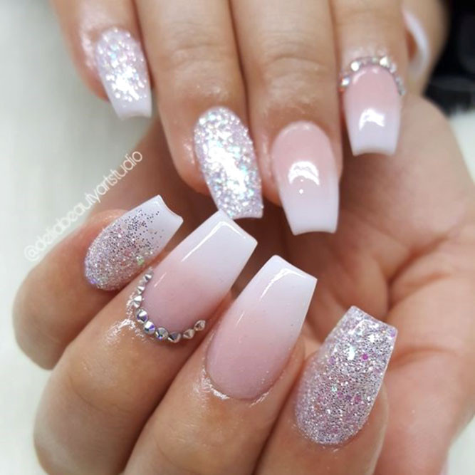 Glitter Nail Designs For Short Nails  35 Outstanding Short Coffin Nails Design Ideas