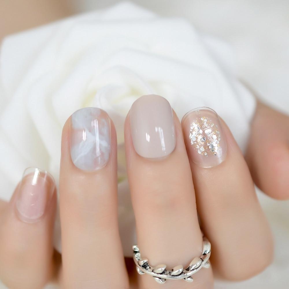 Glitter Nail Designs For Short Nails  New Simple Full Nail Art Kit Glitter Marble Decoration