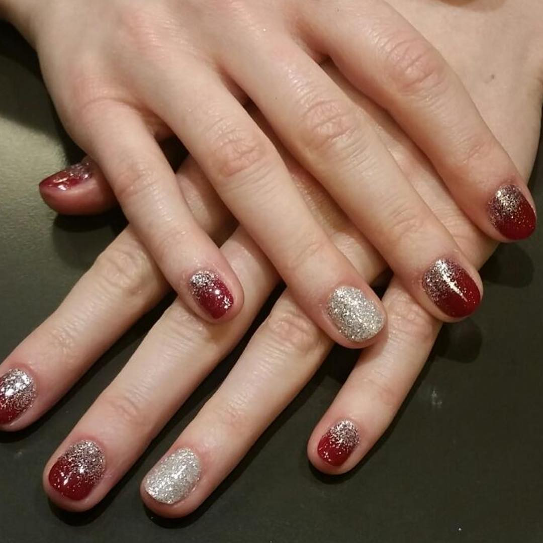Glitter Nail Designs For Short Nails  26 Red and Silver Glitter Nail Art Designs Ideas