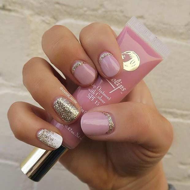 Glitter Nail Designs For Short Nails  69 Super Easy Nail Designs
