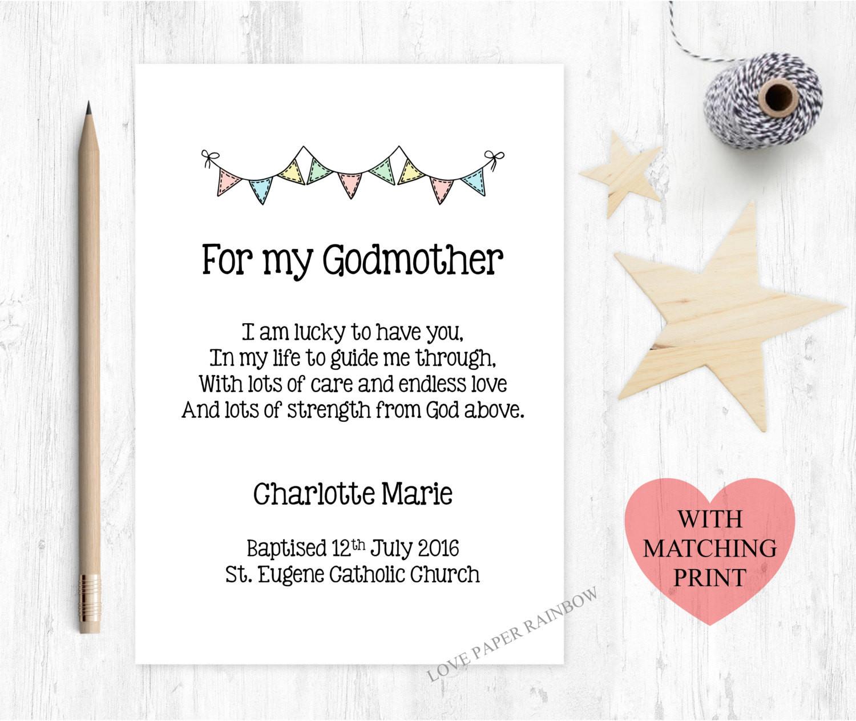 Godmother Quotes  godmother card godmother poem card godmother poem card for