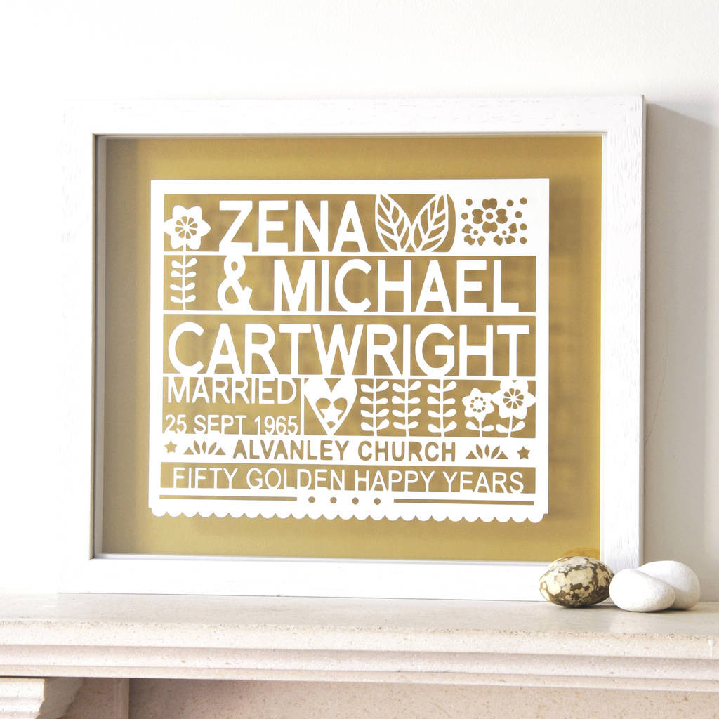 Golden Anniversary Gift Ideas  Personalised 50th Golden Wedding Anniversary Gift By Ant