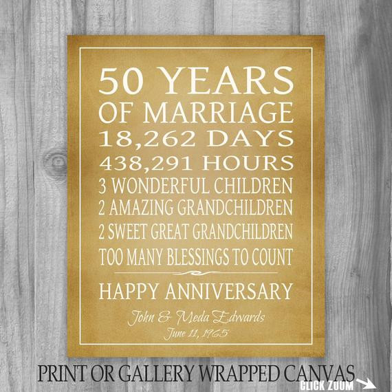 Golden Anniversary Gift Ideas  Golden Anniversary Gift Grandparents 50th by PrintsbyChristine
