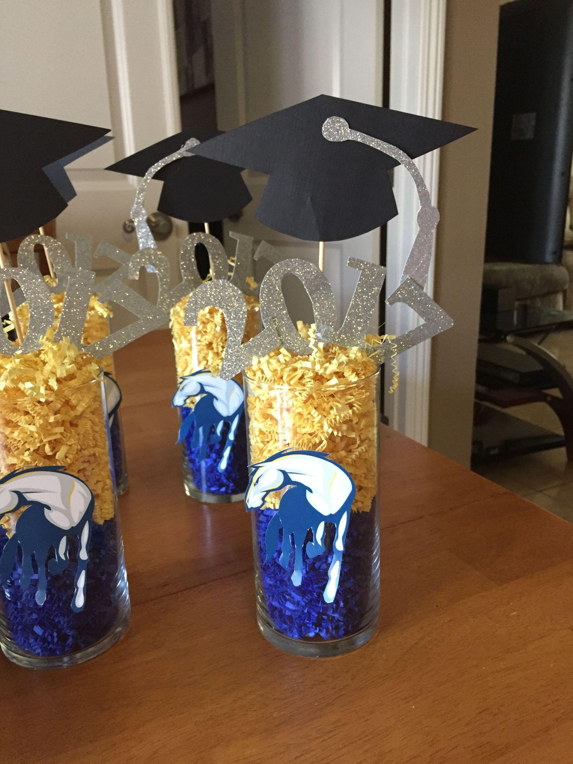 Graduation Party Centerpiece Ideas  UC Davis graduation centerpiece With images