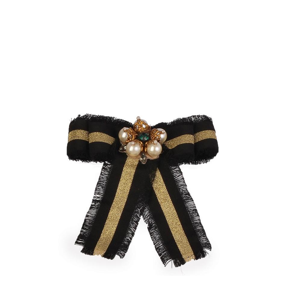Gucci Brooches  GUCCI Web Grosgrain Bow Brooch Black