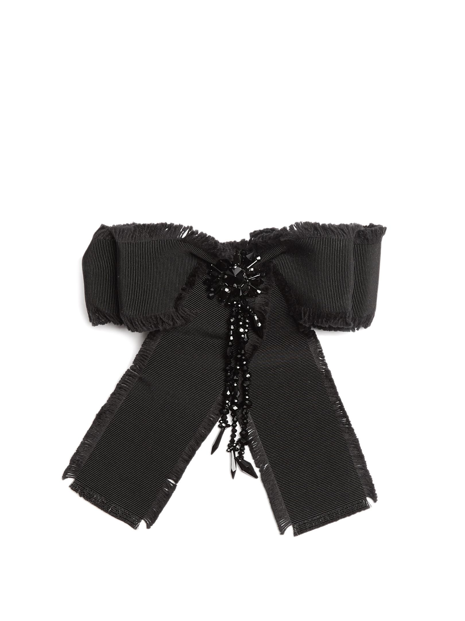 Gucci Brooches  Lyst Gucci Bead embellished Bow Brooch in Black