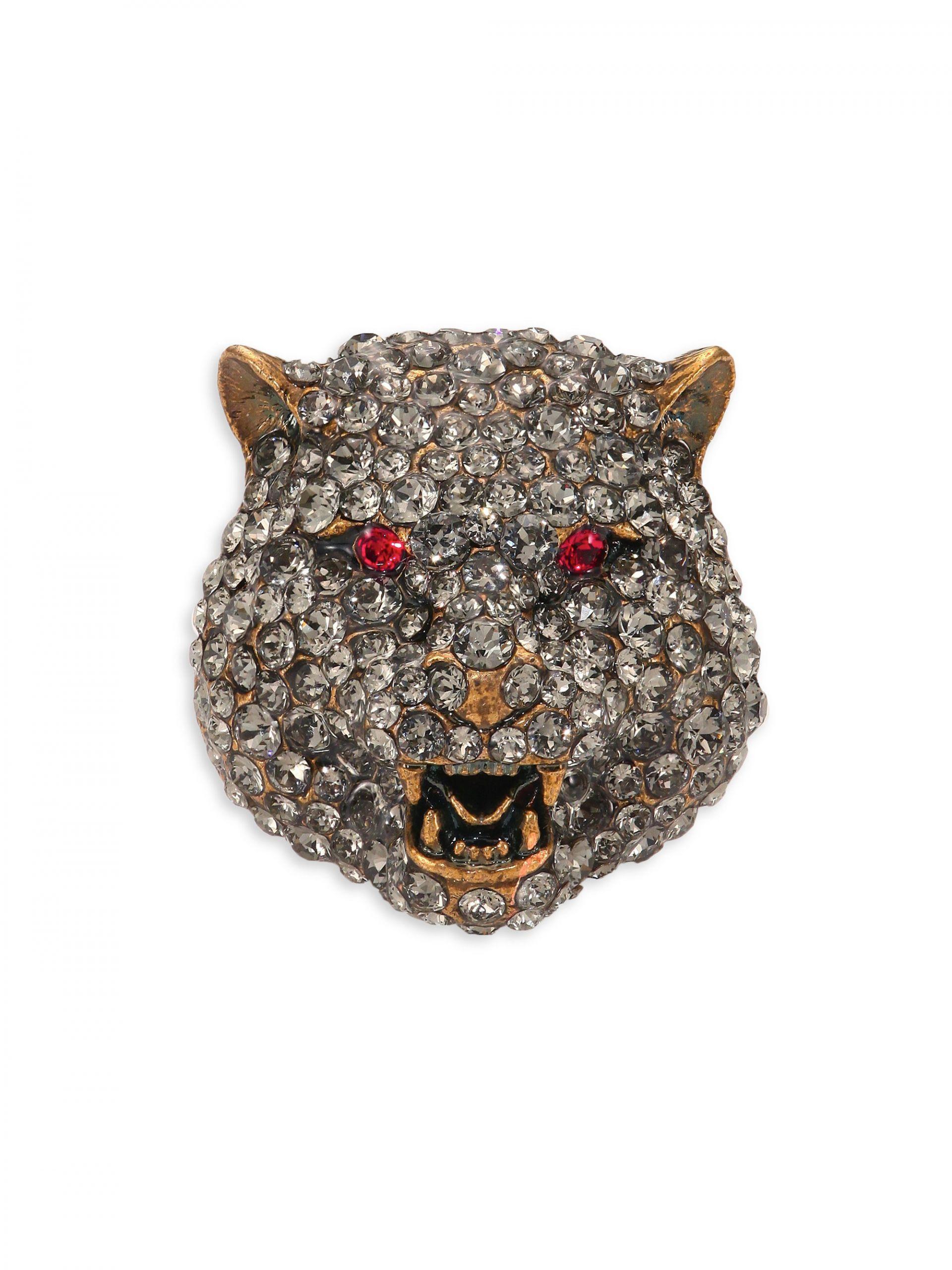 Gucci Brooches  Gucci Feline Crystal Brooch in Metallic